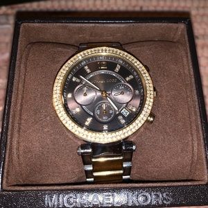 MICHAEL KORS GUNMETAL & GOLD WATCH